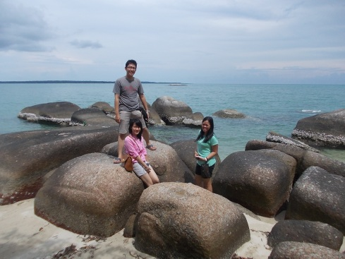 Tumpukan granit Pantai Teluk Gembira